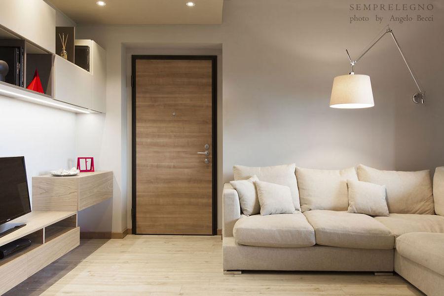 Soggiorno Design con Cucina a Vista e Camera da Letto Arredata su Misura  Idee Ristrutturazione