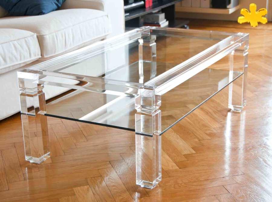 Tavolini da Salotto In Plexiglass Trasparente con Ripiano  Idee Interior Designer