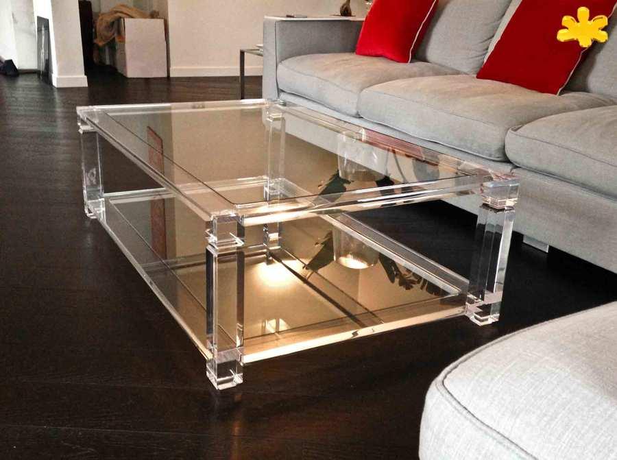 Tavolini da Salotto In Plexiglass Trasparente a due Piani