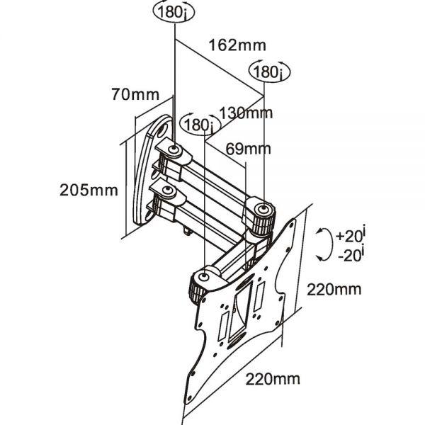 InLine® Supporto TV Parete 43-94cm (17-37