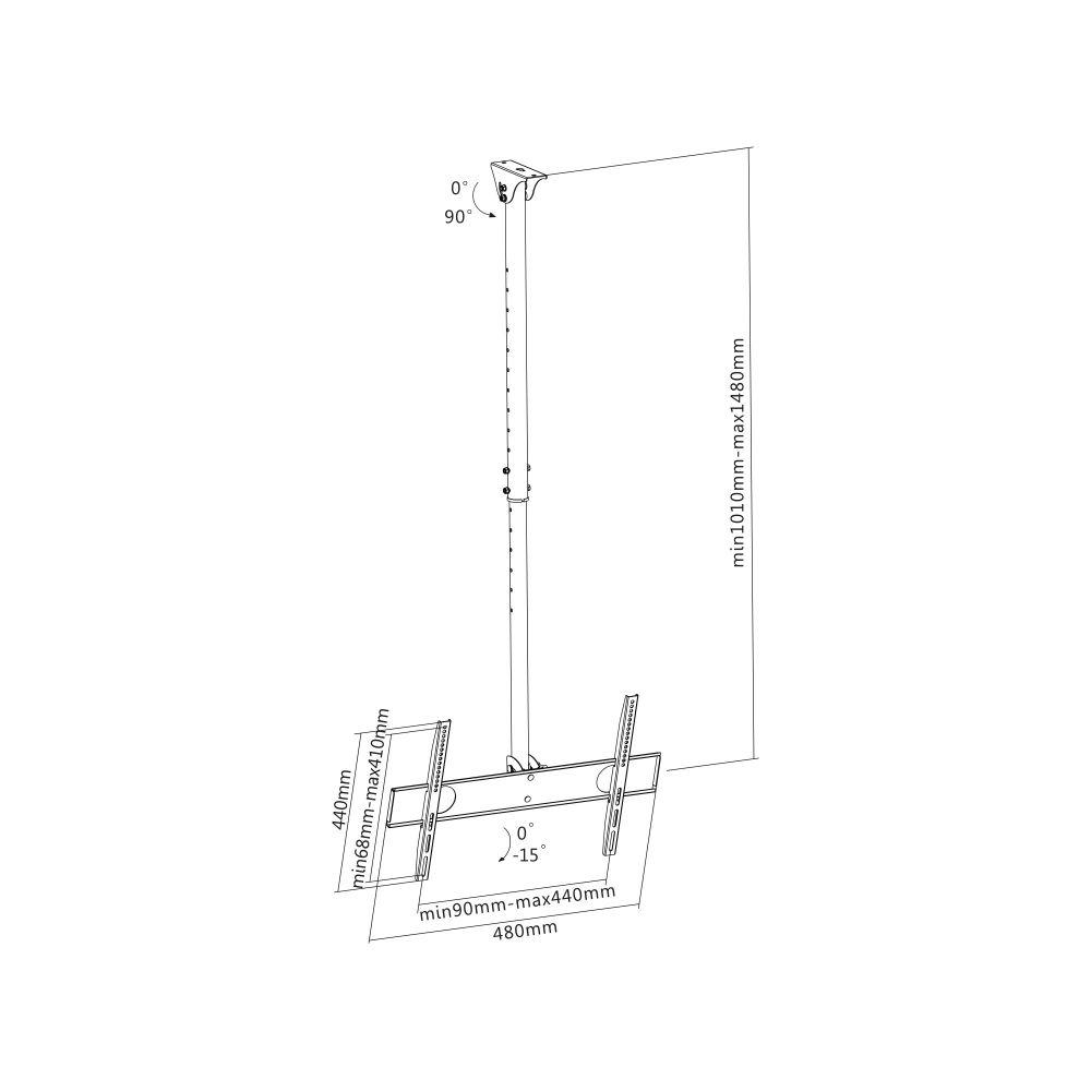 InLine® Supporto Soffitto Monitor / TV da 81-140cm (32-55