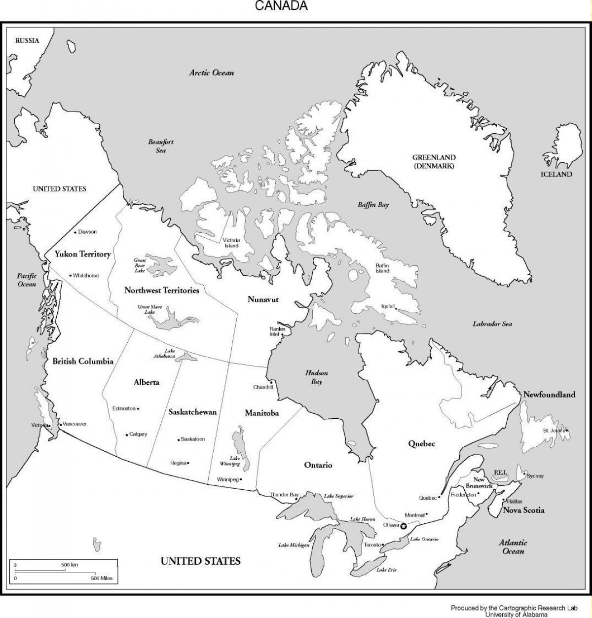 Mappa Del Canada In Bianco E Nero