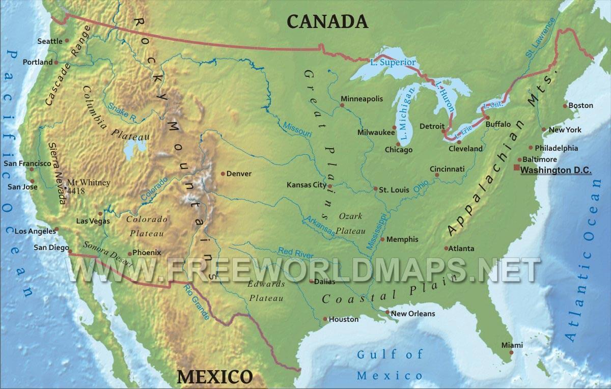 Stati Uniti Cartina Fisica E Politica.Stati Uniti Cartina Fisica Usa Mappa Fisica Fisica Mappa Degli Stati Uniti America Del Nord America Un Grazie A Tutti I Docenti Che Hanno Partecipato A Questa Iniziativa Lice