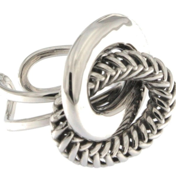 Ring in white gold and ruthenium