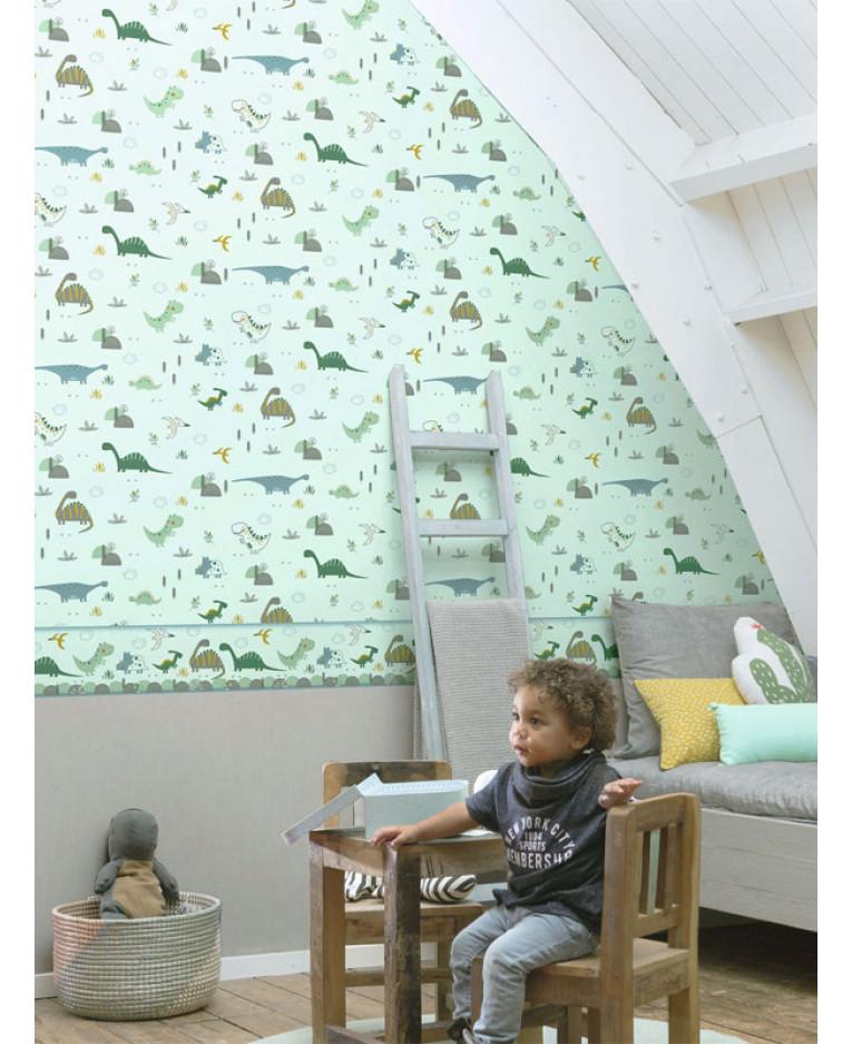 carta da parati bambini foto mural natura, aereo e cielo. Carta Da Parati Con Foresta Di Dinosauri Verde Marrone Rasch 212808