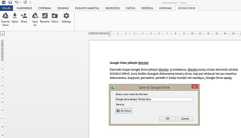 Google Drive įskiepis Wordui