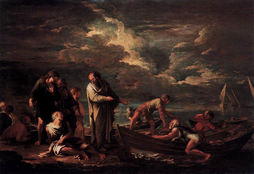 Pitagora e il pescatore Salvator Rosa