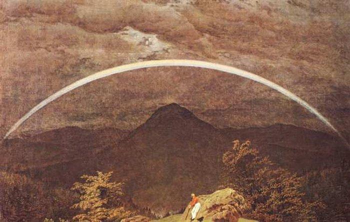 montagna paesaggio con arcobaleno di Caspar David Friedrich 17741840 Germany  Riproduzioni