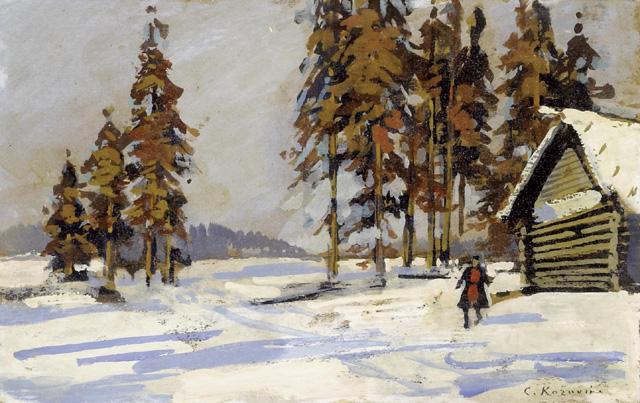 paesaggio invernale di Konstantin Alekseyevich Korovin 18611939 Russia  Riproduzione Art