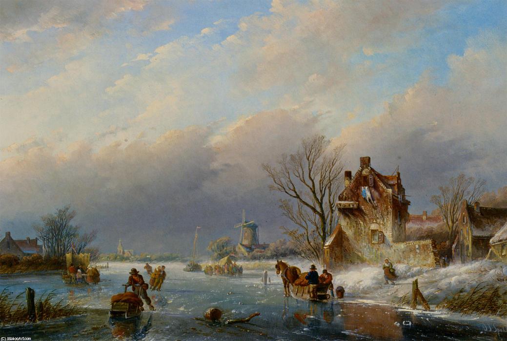 figure sul ghiaccio in un paesaggio invernale di Jan Jacob Coenraad Spohler 18371923