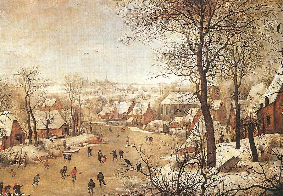 paesaggio invernale con una uccellotrappola olio su pannello di Pieter Bruegel The Younger