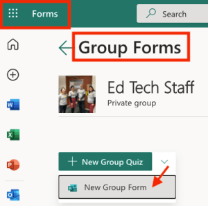 screenshot of Forms - Group Forms - click New Group Form