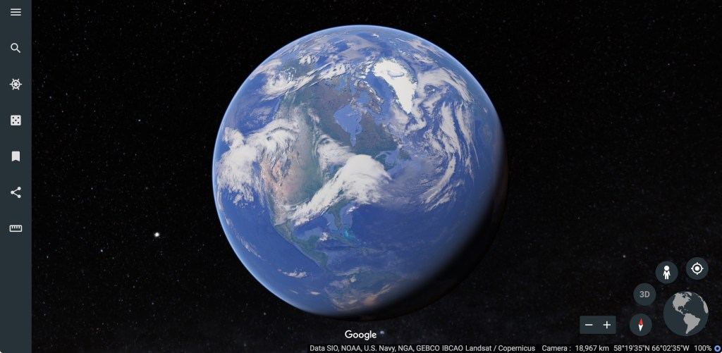 Earth in google chrome's browser