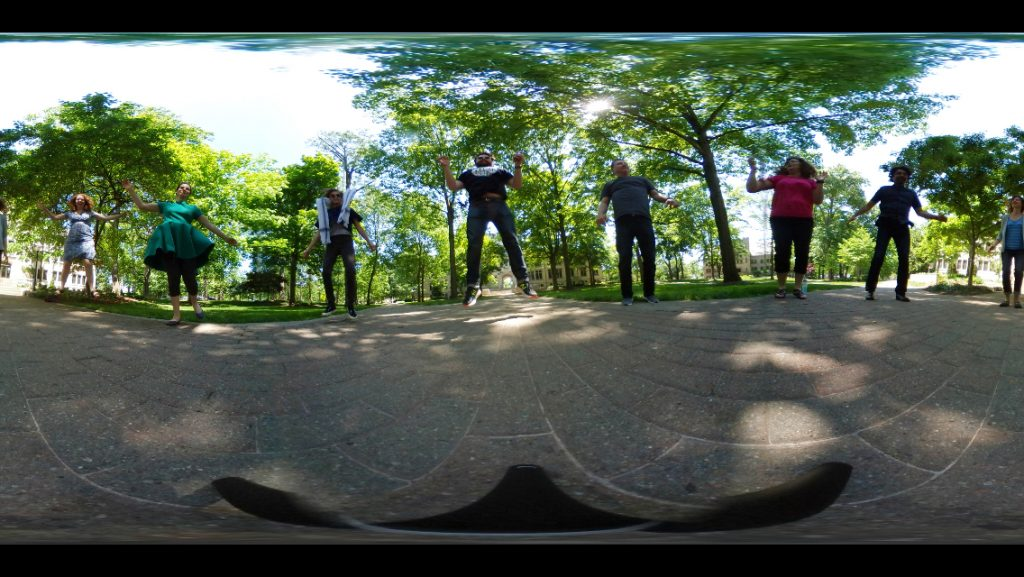 360 image of people jumping