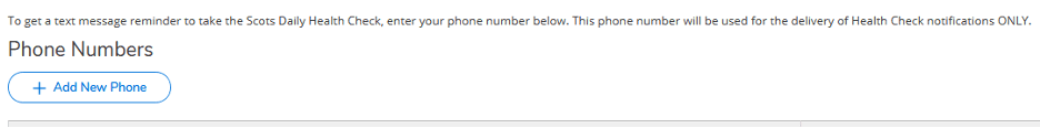Screenshot of adding the phone number for Self Service