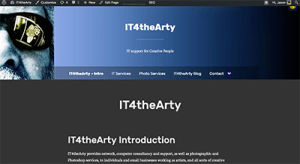 A screenshot of the new version of the IT4theArty website