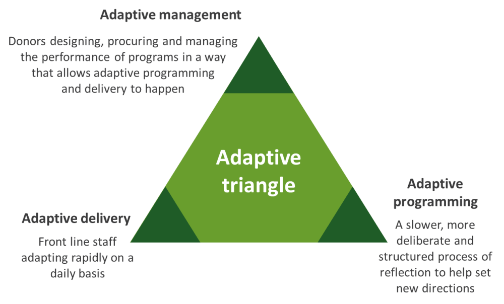 medium resolution of recent work carried out by itad in partnership with oxfam for a dfid funded research programme conceptualises these roles in an adaptive triangle