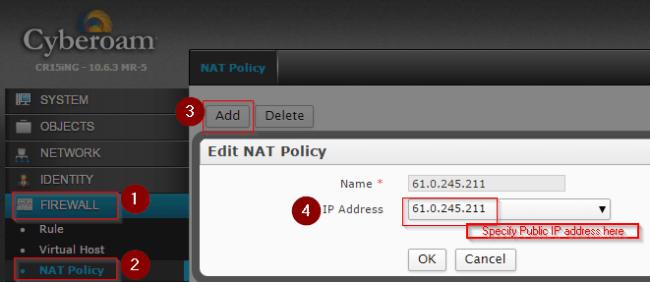 cyberoam Static NAT