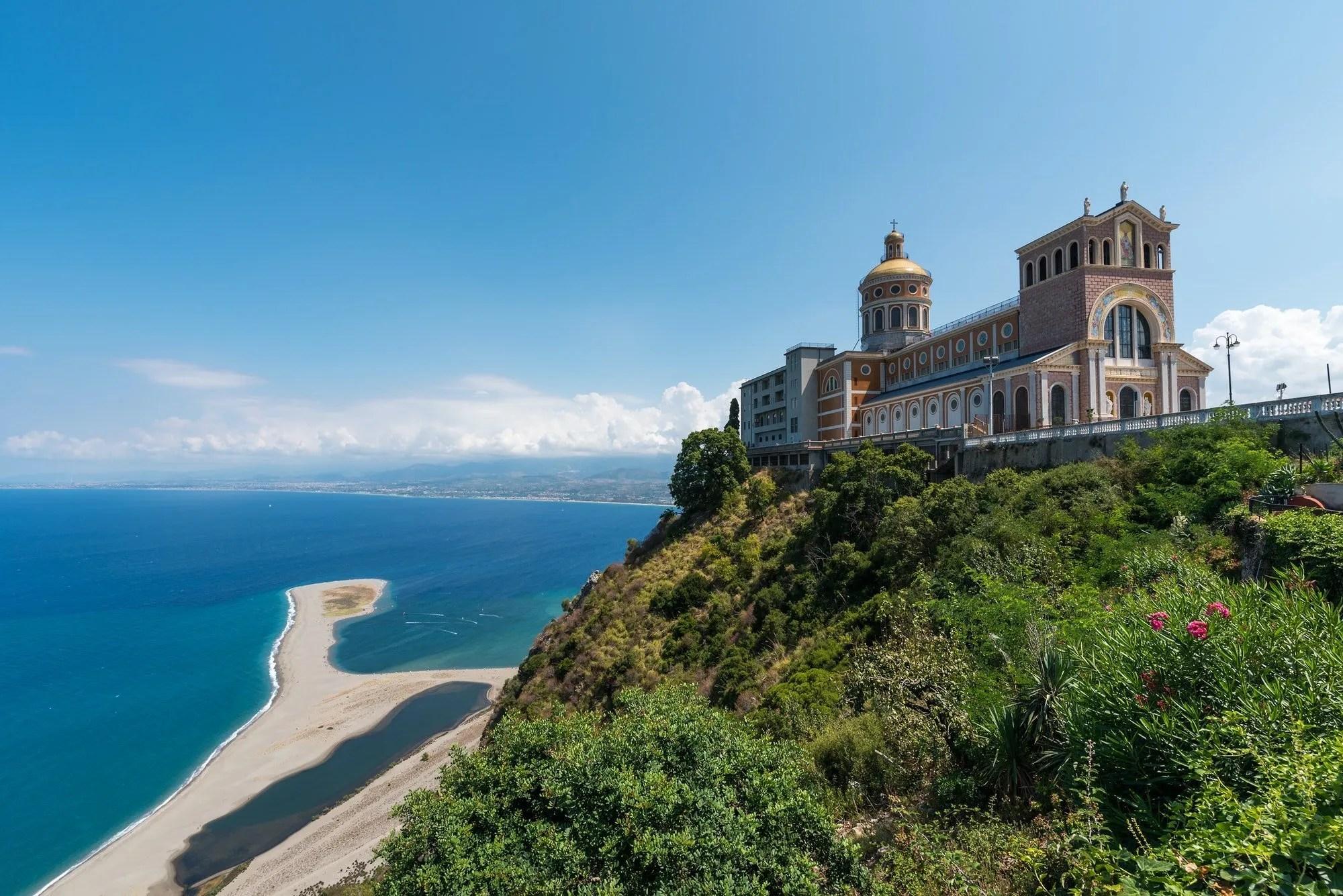 The sanctuary and the beach in Tindari, Sicily