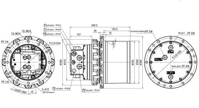 Complessivo di azionamento finale idraulico grigio TM07VC