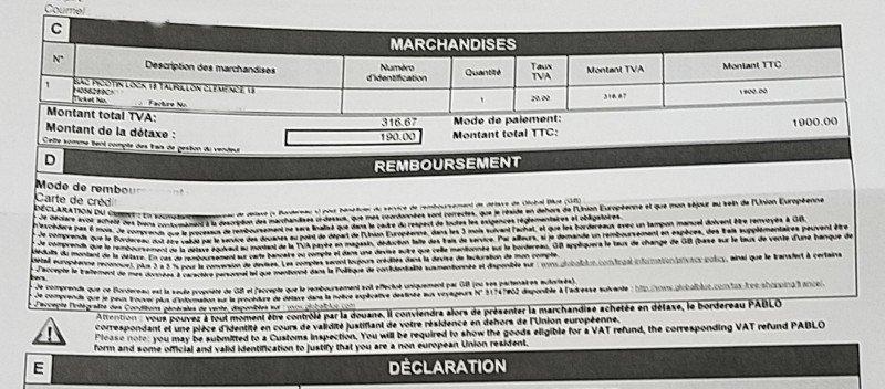価格1900ユーロのPicotin Lock Etoupeの免税額は190ユーロ