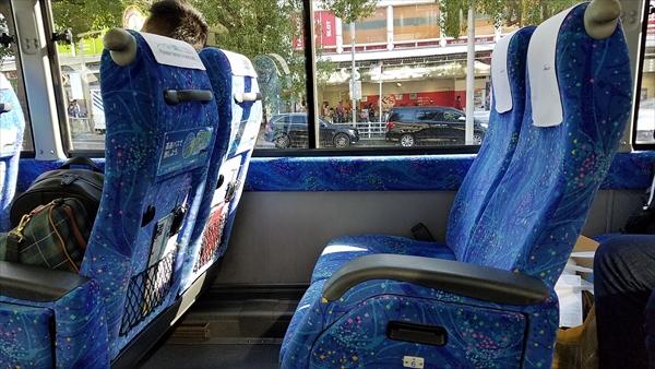 三宮から関空行のリムジンバスの車内シート