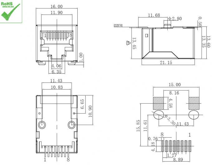 Singola Ethernet Jack del supporto della superficie del