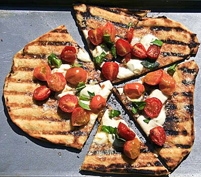 Grilled Pizza with Cherry Tomatoes