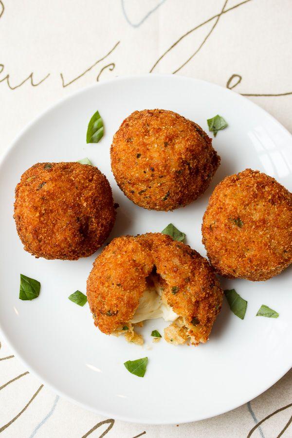 Arancini with Smoked Mozzarella and Basil