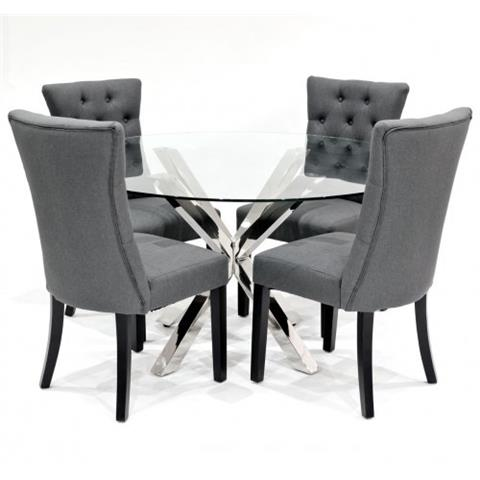 black table and chairs old dental chair glass dining sets crossly 4 sanderson grey