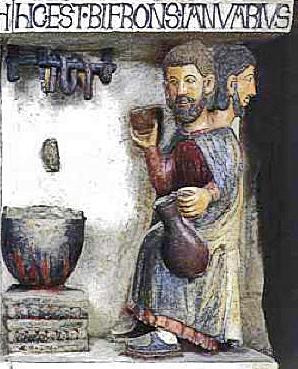 Raffigurazione del mese di gennaio nella pieve di Santa Maria Assunta ad Arezzo