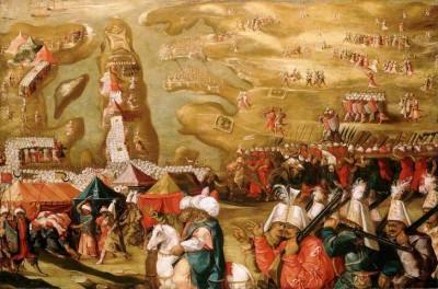 """Matteo da Lecce, """"L'assedio di Malta: l'assedio e il bombardamento di Sant'Elmo"""", 27 maggio 1565. Immagine da qui."""