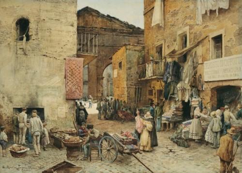 Trastevere nell'Ottocento, acquerello di Ettore Roesler Franz