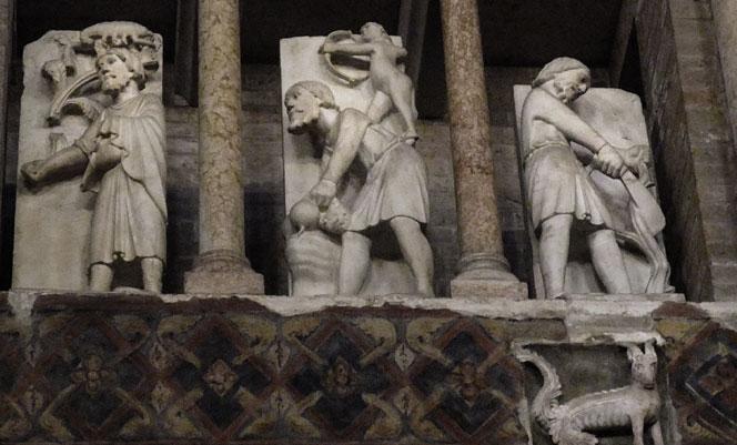 Duomo di Parma, il Ciclo dei Mesi (da sinistra a destra): Ottobre, Novembre, Dicembre