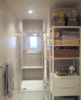 Gray tile european bathroom