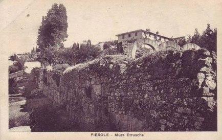 Etruscan wall in Fiesole (vintage postcard)