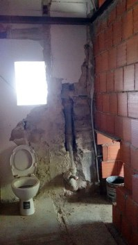Bathroom remnants and water tube