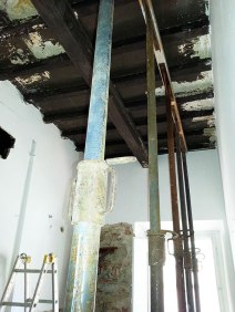 The kitchen ceiling and supports