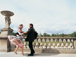 Couple Greeting Each Other in Luxembourg Gardens, Paris