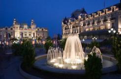 Fountains at dusk in Casino square Monaco
