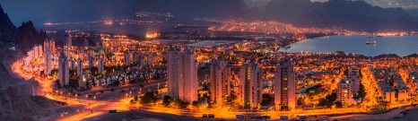 Panoramic view on Eilat at night
