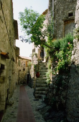 Empty cobblestone alley, Eze, French Riviera, France