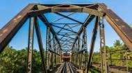 Steel bridge train In Sevastopol