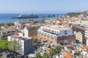 Aerial view of Portugese Funchal with cruise ship in harbor