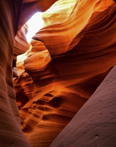 Sunlight streaming into Antelope Canyon