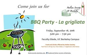 Welcome BBQ (SEPT 16) : Faculty Glade, (5-7:30PM)
