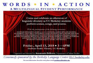 APR 13: Words in Action, A Multilingual Student Performance (3pm)