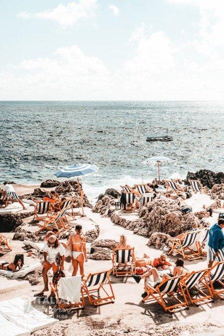 Posh beaches of Capri Italy Napoli Bay