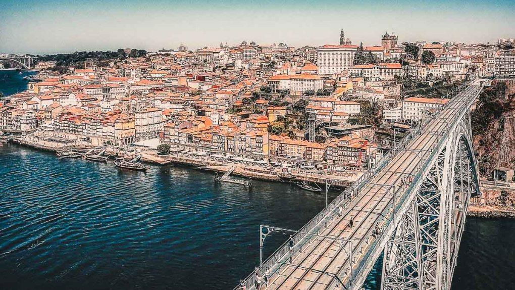 Aerial view of Porto, Bridge Luis 1 in Porto