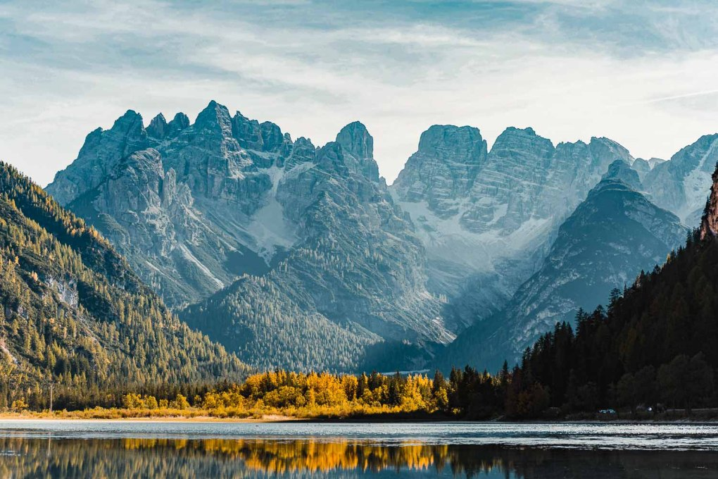 Dolomites Landsca[e early in the morning, view from a typical lake